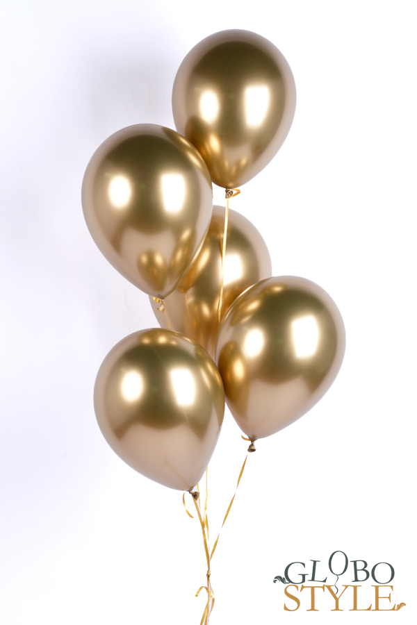 GloboStyle, regalar ramo de globos de helio dorado